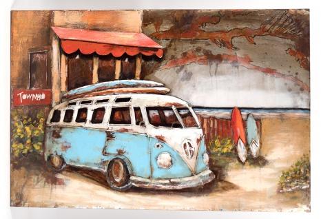 Handgefertigtes Metallbild Strandbus Blau ca. 120x80 cm Kunst Bild 3D-Optik Wandbild