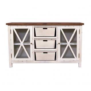 Sideboard Loire Landhaus Stil Holz Vintage Look creme weiß - Vorschau 2