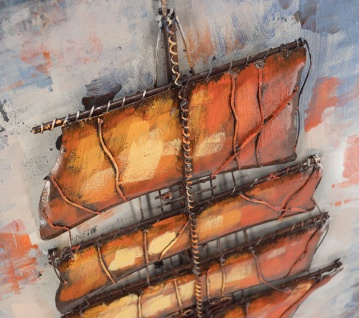 Handgefertigtes Metallbild Sailing ca. 120x60 cm Kunst Bild 3D-Optik Wandbild - Vorschau 3