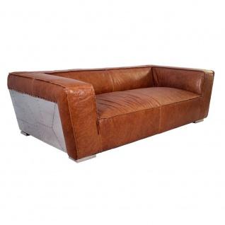 Clubsofa Longford 2, 5-Sitzer Vintage-Leder Chrom