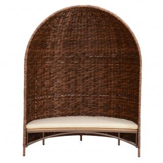 Strandmuschel Caramel mit Sitzbank inkl. Sitzpolster in cremeweiß - Vorschau 2
