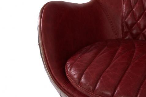 Design Schalensessel Saltum Royal Rouge Vintage Leder Aluminium - Vorschau 5