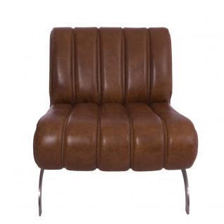 Design-Clubsessel Cassidy Columbia Brown Edelstahl Ledersessel Leder Sessel - Vorschau 2