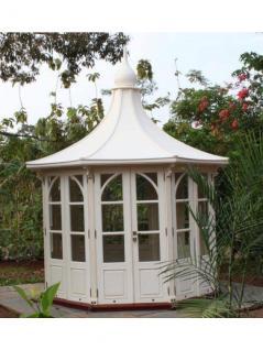 Gartenhaus Leeds Gazebo Mahagoni Holzhaus Geräteschuppen Blockhaus weiß
