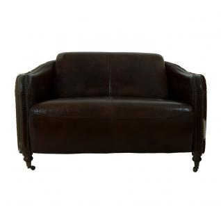 Clubsofa Flair 2-Sitzer Vintage Leder Kuhfell - Vorschau 2