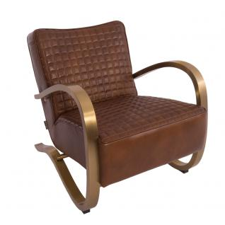 Design-Clubsessel Giacomet Whiskey Brown Edelstahl Kupfer-Finish Ledersessel Leder Sessel