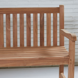 Teakholz Gartenbank Kampen ca. 120 cm Teak Möbel komplett montiert Bank Holzbank - Vorschau 2