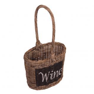 Tragekorb Wine Aufbewahrungskorb Rattankorb Korb Weinhalter Naturrattan - Vorschau 1