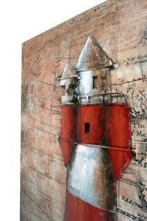 Handgefertigtes Metallbild Leuchtturm Map ca. 100x80 cm Kunst Bild 3D-Optik Wandbild - Vorschau 2