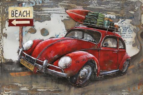 Handgefertigtes Metallbild Käfer ca. 120x80 cm Kunst Bild 3D-Optik Wandbild - Vorschau