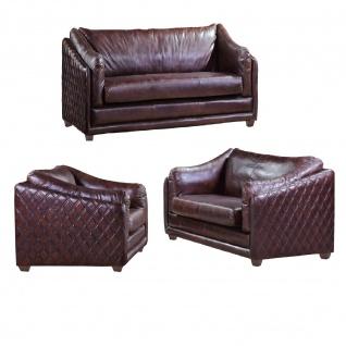 Ledergarnitur Oldham 3-Sitzer, 2-Sitzer und Sessel 3+2+1