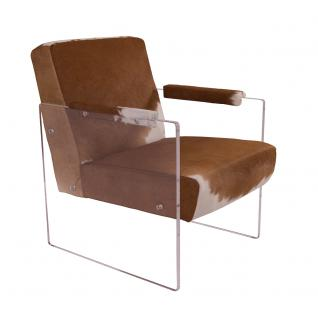 Cocktailsessel Armani Kuhfell weiß braun Acrylglas Seitenteile Clubsessel Designsessel Armchair