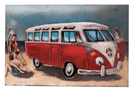Handgefertigtes Metallbild Strandbus Rot ca. 120x80 cm Kunst Bild 3D-Optik Wandbild