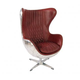 Design Schalensessel Saltum Royal Rouge Vintage Leder Aluminium - Vorschau 1