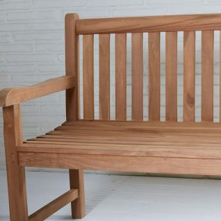 Teakholz Gartenbank Kampen ca. 120 cm Teak Möbel komplett montiert Bank Holzbank - Vorschau 3