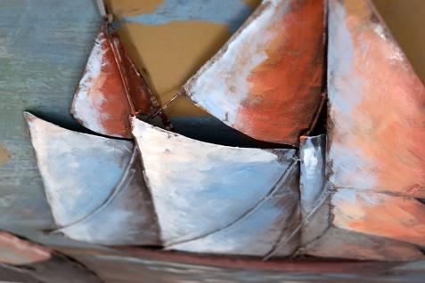 Handgefertigtes Metallbild Segelboot ca. 100x100 cm Kunst Bild 3D-Optik Wandbild - Vorschau 2