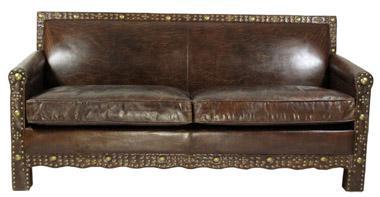 Ledersofa Berkshire 3-Sitzer Vintage-Leder Messingieten