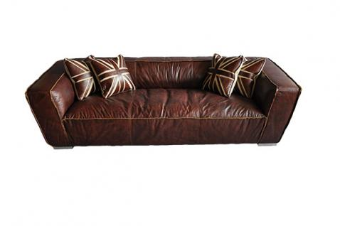 Clubsofa Darkford 3-Sitzer Leder Chrom 1