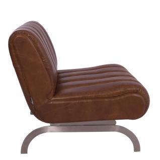 Design-Clubsessel Cassidy Columbia Brown Edelstahl Ledersessel Leder Sessel - Vorschau 3