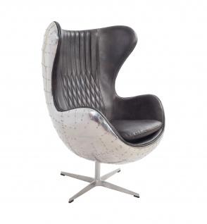 Design Schalensessel Saltum Vintage Dark Leder Aluminium