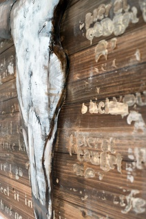 Handgefertigtes Holz-Metallbild Buffalo Skull ca. 115x75 cm Kunst Bild 3D-Optik Wandbild - Vorschau 2