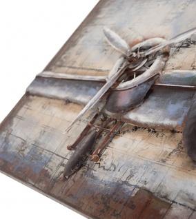 Handgefertigtes Metallbild Flugzeug ca. 120x60 cm Kunst Bild 3D-Optik Wandbild - Vorschau 2