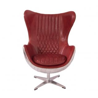 Design Schalensessel Saltum Royal Rouge Vintage Leder Aluminium - Vorschau 2