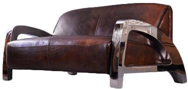 Memphis Design-Clubsofa 3-Sitzer Vintage Leder Chrom