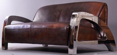 Design-Clubsofa Memphis 2-Sitzer Vintage Leder Chrom