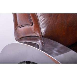 Design-Clubsofa Memphis 2-Sitzer Vintage Leder Chrom - Vorschau 4