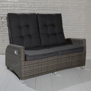 2-Sitzer Gartensofa Barcelona grau-mix Loungesofa Sofa Gartenmöbel Living-Sofa Polyrattan