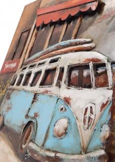Handgefertigtes Metallbild Strandbus Blau ca. 120x80 cm Kunst Bild 3D-Optik Wandbild - Vorschau 2