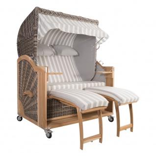 Strandkorb Kampen 2, 5-Sitzer White Oak Set 7 inkl. Industrierollen und Hydraulikdämpfer