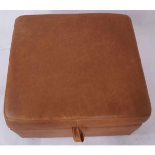 Fußhocker Birmingham mit Stauraum Vintage-Leder Columbia Brown - Vorschau 5
