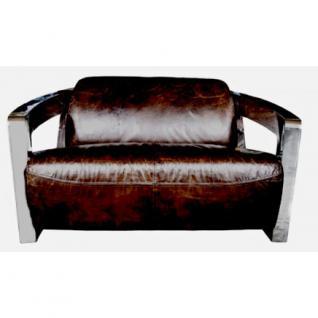 Design-Clubsofa Mars 2 Sitzer Chrom und Vintage-Leder - Vorschau 2