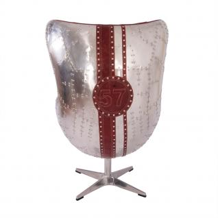 Design Schalensessel Saltum Royal Rouge Vintage Leder Aluminium - Vorschau 4