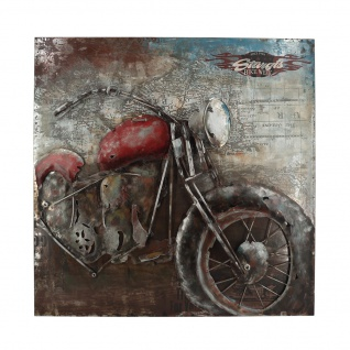 Handgefertigtes Metallbild Bike Week Red ca. 100x100 cm Kunst Bild 3D-Optik Wandbild