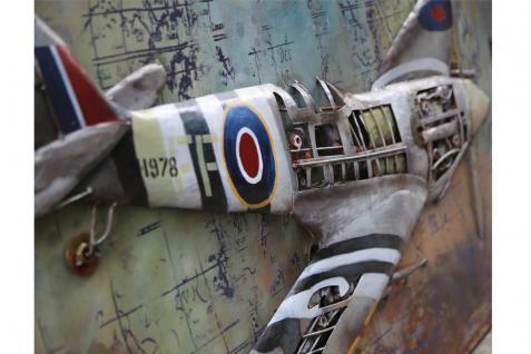 Handgefertigtes Metallbild Spitfire ca. 120x80 cm Kunst Bild 3D-Optik Wandbild - Vorschau 2