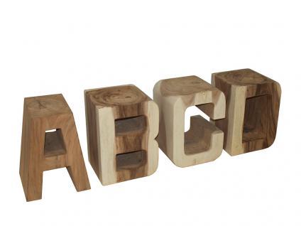 Buchstabensatz ABCD Holzbuchstabe Teakholz Teak massiv