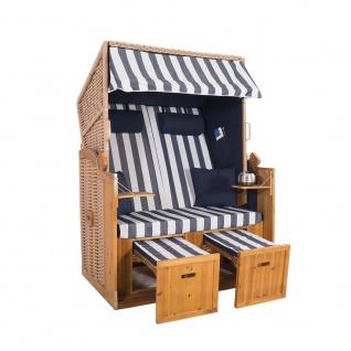 2 Sitzer Natur Ostseestrandkorb Hörnum Blau Blockstreifen Strandkorb Volllieger