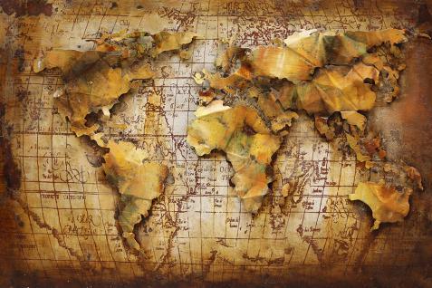 Handgefertigtes Metallbild Erde ca. 120x80 cm Kunst Bild 3D-Optik Wandbild - Vorschau