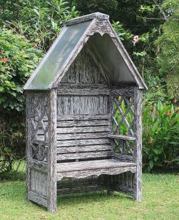 Laubenbank Philosophenbank Rosenbank Bali white wash verzinkt Mahagoni-Holz - Vorschau 1