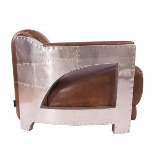 Designsessel Nash Leder Vintage Cigar Aluminium Clubsessel Ledersessel - Vorschau 3