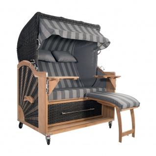 Strandkorb Kampen 2, 5-Sitzer Mocca Set 10 inkl. Industrierollen und Hydraulikdämpfer
