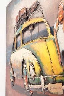 Handgefertigtes Metallbild Käfer Gelb ca. 120x80 cm Kunst Bild 3D-Optik Wandbild - Vorschau 3