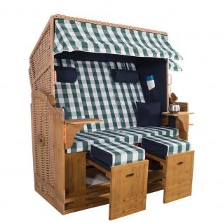 XXL 2, 5 Sitzer Natur Strandkorb Hörnum Blau-Grün Kariert