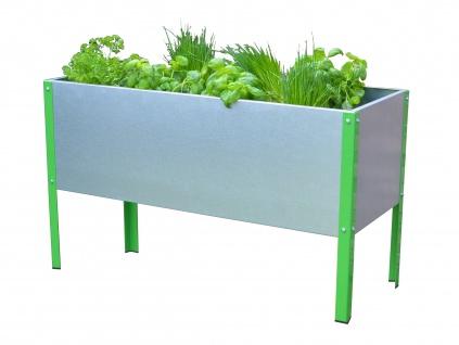 Mehl-Wohnideen Hochbeet inkl. Zwischenablage aus Metall - Pflanzkübel Blumen, Kräuter und Gemüse für Balkon, Terrasse, schmal, ca. 90 x 87 x 38 cm - Vorschau 3