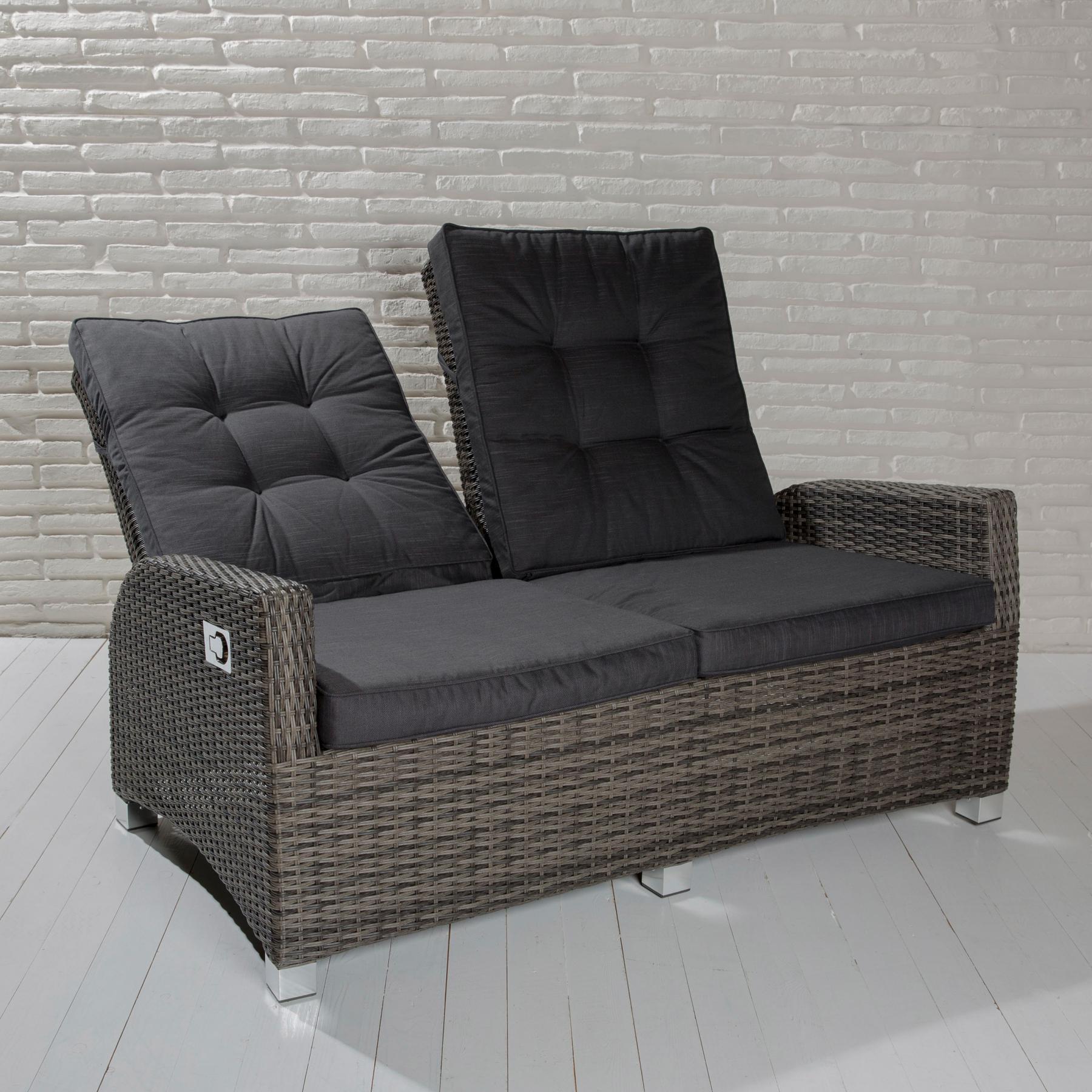 2 sitzer gartensofa barcelona grau mix loungesofa sofa gartenm bel living sofa polyrattan. Black Bedroom Furniture Sets. Home Design Ideas