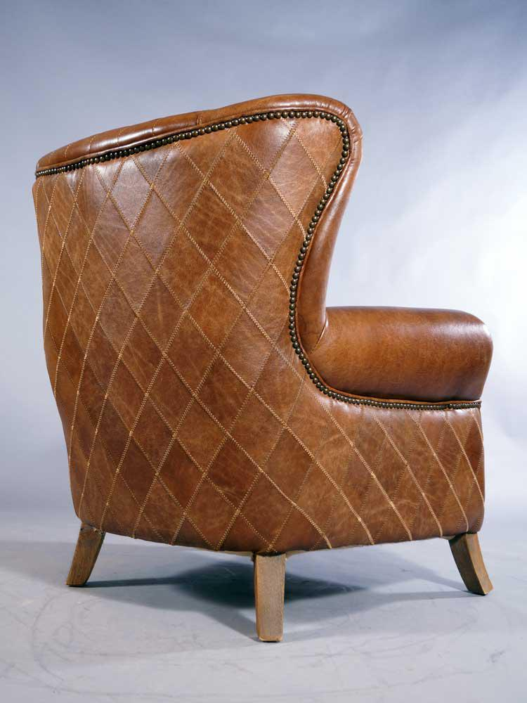 ... Ohrensessel Enfield Vintage Leder Whiskey Brown Messingnieten 2 ...