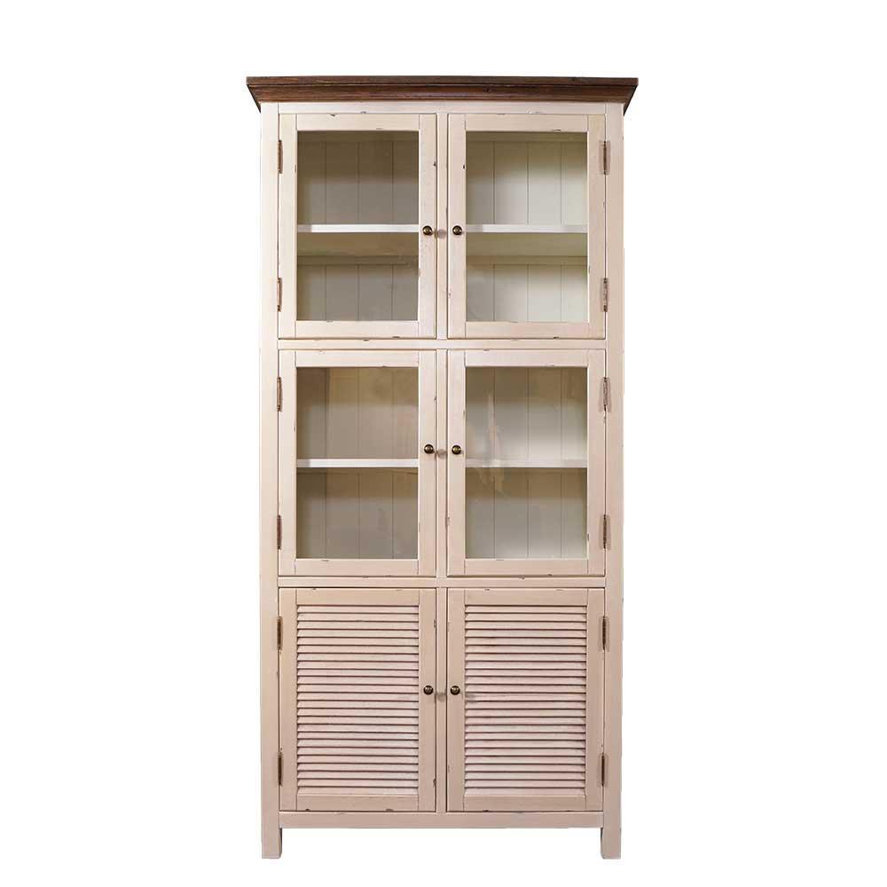 vitrinenschrank bretagne landhaus stil holz vitrine vintage look creme wei kaufen bei mehl. Black Bedroom Furniture Sets. Home Design Ideas